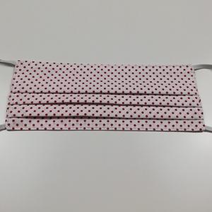Piros pöttyös 2 rétegű pamut szájmaszk, Maszk, Arcmaszk, Férfi & Uniszex, Varrás, Igényesen elkészített, 2 rétegű, 100% pamut öko-textilből készült, gumis rögzítésű szájmaszk. \nA mas..., Meska