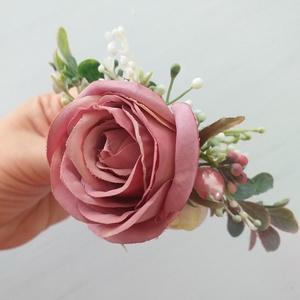Esküvői, alkalmi hajdísz, hajfésű, Esküvő, Fésűs hajdísz, Hajdísz, Virágkötés, Meska