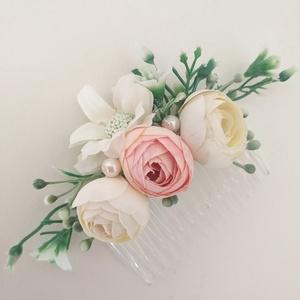 Esküvői, alkalmi hajdísz, hajfésű, Fésűs hajdísz, Hajdísz, Esküvő, Virágkötés, \nKiegészítőre van szükséged az esküvődhöz, különleges alkalomhoz vagy fotózáshoz? Ezek a hajtűzők se..., Meska