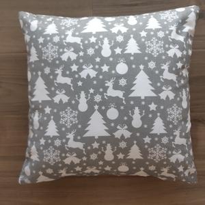 Karácsonyi díszpárna szürke-fehér - Meska.hu