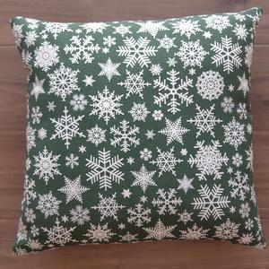 Hópihés zöld karácsonyi díszpárna  - Meska.hu