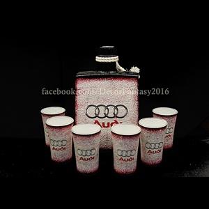 Audi pálinkás készlet ; audi autó kedvelő férfiaknak, Otthon & Lakás, Konyhafelszerelés, Pohár, Decoupage, transzfer és szalvétatechnika, Audi emblémával díszített szett ( 0,5l-es üveg + 6db 45ml-es pohár ) audi kedvelőknek\nA saját autód ..., Meska