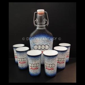 AUDI  emblémával díszített italos szett ( 0,2 l üveg + 6x45ml ) , Férfiaknak, Sör, bor, pálinka, Egyéb, Decoupage, transzfer és szalvétatechnika, Ideális ajándék férfi ismerőseinknek !!! ( igény szerint egyedi fotóval - szöveggel is elkészítjük )..., Meska