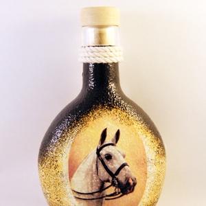 Ló motívummal díszített italos butykos - II.  ( 0,2 l )  , Otthon & Lakás, Díszüveg, Dekoráció, Decoupage, transzfer és szalvétatechnika, Meska