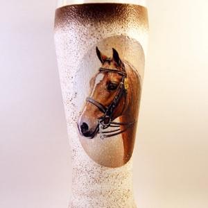 Ló motívummal díszített  sörös pohár / 2. - ( 0,5 L )  , Otthon & Lakás, Pohár, Konyhafelszerelés, Decoupage, transzfer és szalvétatechnika, Meska