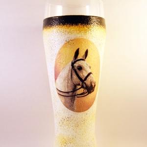 Ló motívummal díszített  sörös pohár / 3. - ( 0,5 L )  , Otthon & Lakás, Pohár, Konyhafelszerelés, Decoupage, transzfer és szalvétatechnika, Meska