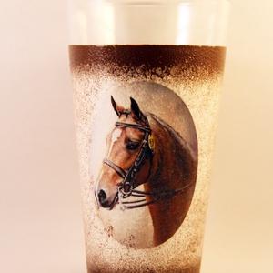 Ló motívummal díszített  vizes pohár / 2. - ( 0,3L )  , Otthon & Lakás, Pohár, Konyhafelszerelés, Decoupage, transzfer és szalvétatechnika, Meska