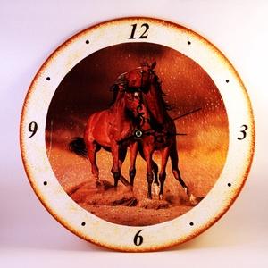 Ló motívummal díszített  falióra ( 25 cm átmérő ) -elem nélkül  (decorfantasy) - Meska.hu