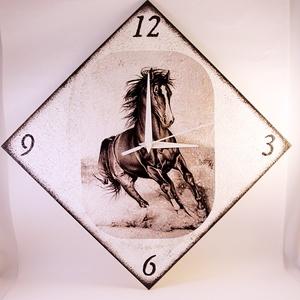 Ló motívummal díszített  falióra ( 25 x 25 cm  ) -elem nélkül , Otthon & Lakás, Falióra & óra, Dekoráció, Decoupage, transzfer és szalvétatechnika, Meska
