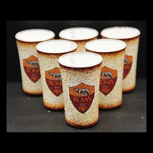 AS ROMA  emblémával díszített pohár szett ( 6 x 45 ml pohár , Díszüveg, Dekoráció, Otthon & Lakás, Decoupage, transzfer és szalvétatechnika, Ideális ajándék férfi ismerőseinknek !!! ( igény szerint egyedi fotóval - szöveggel is elkészítjük )..., Meska