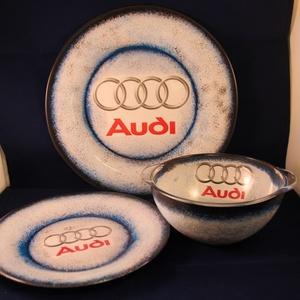 AUDI  emblémával díszített tányér készlet ( lapos + mély + müzlis )  (decorfantasy) - Meska.hu