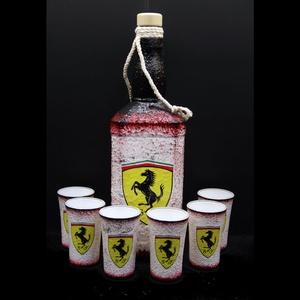 FERRARI italos szett autó rajongóknak, Pohár, Konyhafelszerelés, Otthon & Lakás, Decoupage, transzfer és szalvétatechnika, FERRARI italos szett ( 0,75l + 6 x 45ml pohár ) autó rajongóknak\n\nA saját autód -képed vagy forma1-e..., Meska