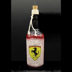 FERRARI pálinkás üveg ( 0,75 l ) ; forma1 rajongóknak, Üveg & Kancsó, Konyhafelszerelés, Otthon & Lakás, Decoupage, transzfer és szalvétatechnika, FERRARI pálinkás üveg ( 0,75 l ) - férjeknek - barátoknak  \n\nA saját autód -képed vagy forma1-es pil..., Meska