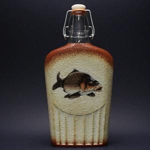 Hal (ponty) motívummal díszített pálinkás üveg ( 0,5 l )  - horgászoknak -férjeknek-barátoknak -születésnapra-névnapra , Férfiaknak, Sör, bor, pálinka, Otthon & lakás, Horgászat, vadászat, Decoupage, transzfer és szalvétatechnika, IDEÁLIS AJÁNDÉK A HALAK ÉS A HORGÁSZAT  SZERELMESEINEK. \n\nEgy igazán különleges -egyedi ajándékkal l..., Meska