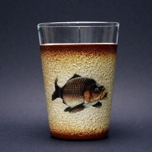 Hal ( ponty )  motívummal díszített vizes pohár (0,3 l ) - horgászoknak -férjeknek-barátoknak -születésnapra-névnapra , Férfiaknak, Sör, bor, pálinka, Otthon & lakás, Horgászat, vadászat, Decoupage, transzfer és szalvétatechnika, IDEÁLIS AJÁNDÉK A HALAK ÉS A HORGÁSZAT  SZERELMESEINEK. \n\n\n\nEgy igazán különleges -egyedi ajándékkal..., Meska