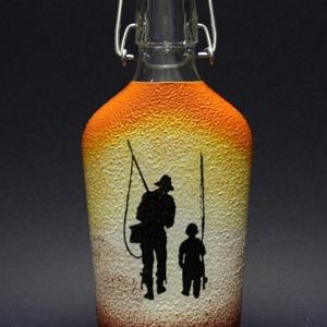 Horgász témával  díszített pálinkás üveg ( 0,2 L )  - horgászoknak -férjeknek-barátoknak -születésnapra-névnapra , Férfiaknak, Sör, bor, pálinka, Otthon & lakás, Horgászat, vadászat, Decoupage, transzfer és szalvétatechnika, IDEÁLIS AJÁNDÉK A HALAK ÉS A HORGÁSZAT  SZERELMESEINEK. \n\n\nEgy igazán különleges -egyedi ajándékkal ..., Meska