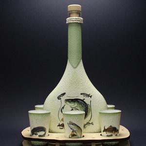 Halas nagy  pálinkás szett ( 6 klf hallal )   - horgászoknak -férjeknek-barátoknak -születésnapra-névnapra , Díszüveg, Dekoráció, Otthon & Lakás, Decoupage, transzfer és szalvétatechnika, IDEÁLIS AJÁNDÉK A HALAK ÉS A HORGÁSZAT  SZERELMESEINEK. \n\n0,5 l üveg + 6 x 45 ml pohár + tartó \n\n\nEg..., Meska
