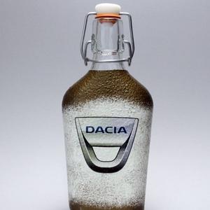 DACIA pálinkás kínáló ; autó rajongóknak, Otthon & Lakás, Díszüveg, Dekoráció, Decoupage, transzfer és szalvétatechnika, DACIA pálinkás kínáló ; autó rajongóknak ( 0,2l ) a márka szerelmeseinek -  Igazán egyedi Dacia ajá..., Meska