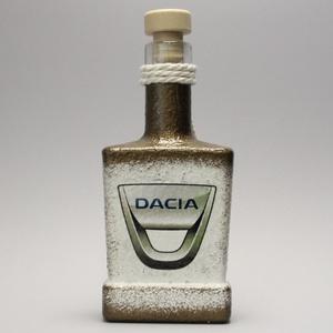 DACIA pálinkás flaska; autó rajongóknak, Otthon & Lakás, Díszüveg, Dekoráció, Decoupage, transzfer és szalvétatechnika, Meska