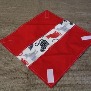 Cicás,piros-fehér újraszalvéta (30x30cm)-ÖKO környezetbarát anyagból óvodásoknak,iskolásoknak,-INGYENES SZÁLLÍTÁSSAL (decorfantasy) - Meska.hu