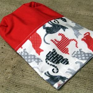Cicás piros-fehér uzsonnás zsák (20x25cm)-ÖKO környezetbarát anyagból óvodásoknak,iskolásoknak,-INGYENES SZÁLLÍTÁSSAL (decorfantasy) - Meska.hu
