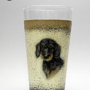 Kutya motívummal ( TACSKÓ ) díszített vizes pohár ; Házi kedvenc rajongóknak ;Egyedi állat fotóval is !, Otthon & Lakás, Dekoráció, Díszüveg, Decoupage, transzfer és szalvétatechnika, Kutya motívummal - TACSKÓ - díszített vizes pohár ( 0,3 l ) \n\nHázi kedvenc rajongóknak ;Egyedi állat..., Meska