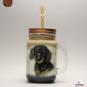 Kutya motívummal ( TACSKÓ ) díszített szívószálas bögre ( 0,3 L )  ; Házi kedvenc rajongóknak ;Egyedi állat fotóval is !, Otthon & Lakás, Dekoráció, Dísztárgy, Decoupage, transzfer és szalvétatechnika, Kutya motívummal - TACSKÓ - díszített szívószálas bögre ( 0,3 l ) \nHázi kedvenc rajongóknak ;Egyedi ..., Meska