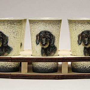 Kutya motívummal ( TACSKÓ ) díszített pálinkás pohár szett  ; Házi kedvenc rajongóknak ;Egyedi állat fotóval is !, Otthon & Lakás, Konyhafelszerelés, Pohár, Decoupage, transzfer és szalvétatechnika, Meska