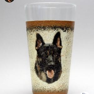 Kutya motívummal ( németjuhász)  vizes pohár ; Házi kedvenc rajongóknak ;Egyedi állat fotóval is !, Otthon & Lakás, Konyhafelszerelés, Pohár, Decoupage, transzfer és szalvétatechnika, Meska