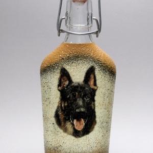 Kutya motívummal ( németjuhász)  pálinkás üveg ; Házi kedvenc rajongóknak ;Egyedi állat fotóval is !, Otthon & Lakás, Konyhafelszerelés, Pohár, Decoupage, transzfer és szalvétatechnika, Meska