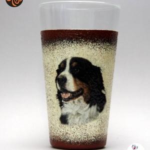 Kutya motívummal ( berni pásztor) vizes pohár ; Házi kedvenc rajongóknak ;Egyedi állat fotóval is !, Otthon & Lakás, Konyhafelszerelés, Pohár, Kutya motívummal -berni pásztor - vizes pohár Házi kedvenc rajongóknak ;Egyedi állat fotóval is !  H..., Meska
