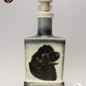 Kutya motívummal ( újfundlandi )  pálinkás üveg ; Házi kedvenc rajongóknak ;Egyedi állat fotóval is !, Otthon & Lakás, Konyhafelszerelés, Pohár, Decoupage, transzfer és szalvétatechnika, Meska