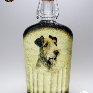 Kutya motívummal ( foxi) díszített pálinkás üveg  ; Házi kedvenc rajongóknak ;Egyedi állat fotóval is !, Otthon & Lakás, Konyhafelszerelés, Pohár, Decoupage, transzfer és szalvétatechnika, Meska