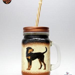 Kutya motívummal ( erdélyi kopó) szívószálas pohár ; Házi kedvenc rajongóknak ;Egyedi állat fotóval is !, Otthon & Lakás, Konyhafelszerelés, Pohár, Decoupage, transzfer és szalvétatechnika, Meska