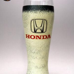 HONDA emblémával díszített  sörös pohár     ; A márka rajongóinak  ; A saját autód fotójával is elkészítjük !, Otthon & Lakás, Dekoráció, Dísztárgy, Decoupage, transzfer és szalvétatechnika, Autó márka emblémával -HONDA - díszített  sörös pohár   ( 0,5 l üveg )\nA saját autód fotójával is el..., Meska