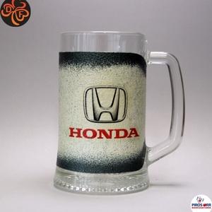 HONDA emblémával díszített  sörös korsó ; A márka rajongóinak  ; A saját autód fotójával is elkészítjük !, Otthon & Lakás, Dekoráció, Dísztárgy, Decoupage, transzfer és szalvétatechnika, Autó márka emblémával -HONDA - díszített  sörös korsó( 0,5 l üveg )\nA saját autód fotójával is elkés..., Meska