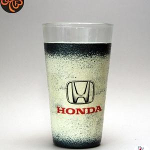 HONDA emblémával díszített  vizes pohár ; A márka rajongóinak  ; A saját autód fotójával is elkészítjük !, Otthon & Lakás, Dekoráció, Dísztárgy, Decoupage, transzfer és szalvétatechnika, Autó márka emblémával -HONDA - díszített vizes pohár ( 0,3 l   )\nA saját autód fotójával is elkészít..., Meska