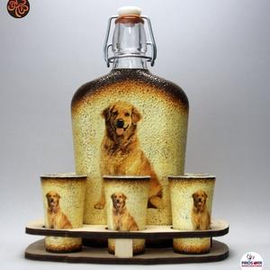 Kutya motívummal ( golden retriever) díszített nagy pálinkás szett ; Házi kedvenc rajongóknak ;Egyedi állat fotóval is !, Otthon & Lakás, Konyhafelszerelés, Pohár, Decoupage, transzfer és szalvétatechnika, Meska