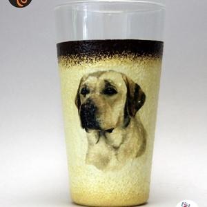 Kutya motívummal (  labrador) vizes pohár ; Házi kedvenc rajongóknak ;Egyedi állat fotóval is !, Otthon & Lakás, Konyhafelszerelés, Pohár, Decoupage, transzfer és szalvétatechnika, Meska