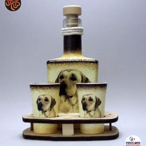 Kutya motívummal (  labrador ) díszített kis pálinkás szett ; Házi kedvenc rajongóknak ;Egyedi állat fotóval is !, Otthon & Lakás, Konyhafelszerelés, Pohár, Decoupage, transzfer és szalvétatechnika, Meska