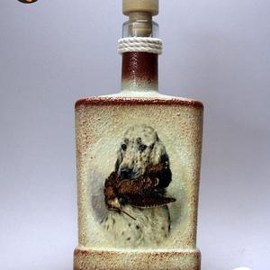 Vadászkutya motívummal (  angol szetter)  pálinkás üveg ; A vadászat szerelmeseinek ;Egyedi állat fotóval is !, Otthon & Lakás, Konyhafelszerelés, Pohár, Decoupage, transzfer és szalvétatechnika, Meska