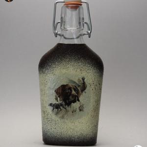 Vadászkutya motívummal (német vizsla )  pálinkás üveg ; A vadászat szerelmeseinek ;Egyedi állat fotóval is !, Otthon & Lakás, Konyhafelszerelés, Pohár, Decoupage, transzfer és szalvétatechnika, Meska