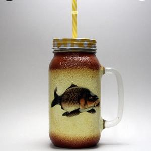 Horgász- ponty motívummal díszített -szívószálas pohár  . A horgászat szerelmeseinek . Saját fogások fotóival is !, Otthon & Lakás, Konyhafelszerelés, Pohár, Decoupage, transzfer és szalvétatechnika, Meska