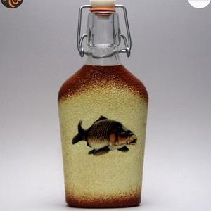 Horgász- ponty motívummal díszített -pálinkás üveg . A horgászat szerelmeseinek . Saját fogások fotóival is !, Otthon & Lakás, Konyhafelszerelés, Pohár, Decoupage, transzfer és szalvétatechnika, Meska