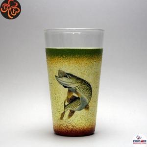 Horgász- csuka motívummal díszített -vizes pohár (0,3 l) . A horgászat szerelmeseinek . Saját fogások fotóival is !, Otthon & Lakás, Konyhafelszerelés, Pohár, Decoupage, transzfer és szalvétatechnika, Horgász- csuka motívummal díszített -vizes pohár( 0,3 l)\nA horgászat szerelmeseinek . Saját fogások ..., Meska