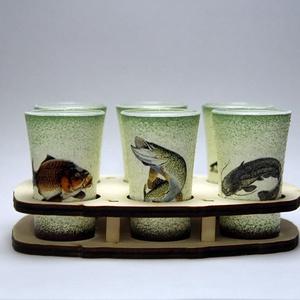 Horgász- hal motívummal díszített -pohár szett  . A horgászat szerelmeseinek . Saját fogások fotóival is !, Otthon & Lakás, Konyhafelszerelés, Pohár, Horgász-  hal motívummal díszített -pohár szett (6 db pohár) A horgászat szerelmeseinek . Saját fogá..., Meska