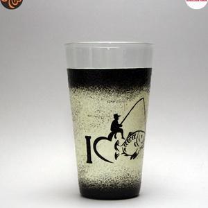 Horgász- humoros, egyedi motívummal díszített-vizes pohár.  A horgászat szerelmeseinek. . , Otthon & Lakás, Konyhafelszerelés, Pohár, Decoupage, transzfer és szalvétatechnika, Meska