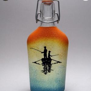 Horgász- humoros, egyedi motívummal díszített -pálinkás üveg . A horgászat szerelmeseinek . , Otthon & Lakás, Konyhafelszerelés, Üveg & Kancsó, Decoupage, transzfer és szalvétatechnika, Meska