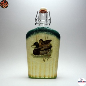 Vadász- vadkacsa motívummal díszített -pálinkás üveg . A vadászat szerelmeseinek . Saját trófeák fotóival is !, Otthon & Lakás, Konyhafelszerelés, Üveg & Kancsó, Decoupage, transzfer és szalvétatechnika, Meska