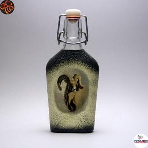 Vadász- mufflon motívummal díszített -pálinkás üveg . A vadászat szerelmeseinek . Saját trófeák fotóival is !, Otthon & Lakás, Konyhafelszerelés, Üveg & Kancsó, Decoupage, transzfer és szalvétatechnika, Meska